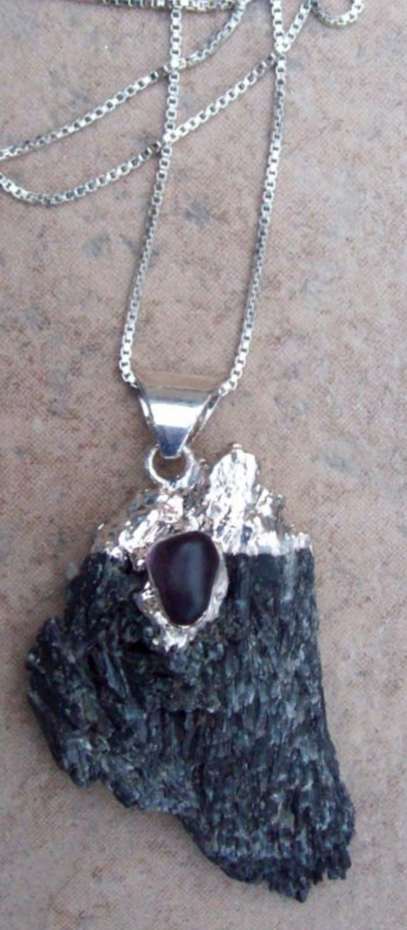 "Amethyst, Kyanite & Sterling necklace pendant  ""AMULET"""