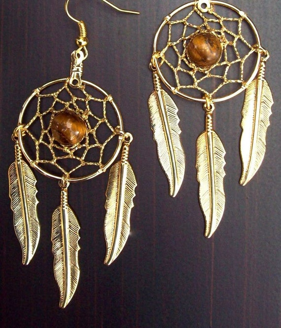 DREAMCATCHER   Dream catcher earrings with tiger eye 2.75 inches long  - All seeing Dreams