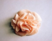 Pink Peach Chiffon Fabric Flower Hair Clip Brooch Hair Accessory Available In Other Colors 50% OFF