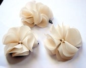 Ivory White or Pink Peach Chiffon Wedding Flower Hair Pins Best Seller of the Year Set of 3 WAS 18 NOW 9