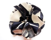 Navy White Floral Silk Patterned Flower Hair Clip