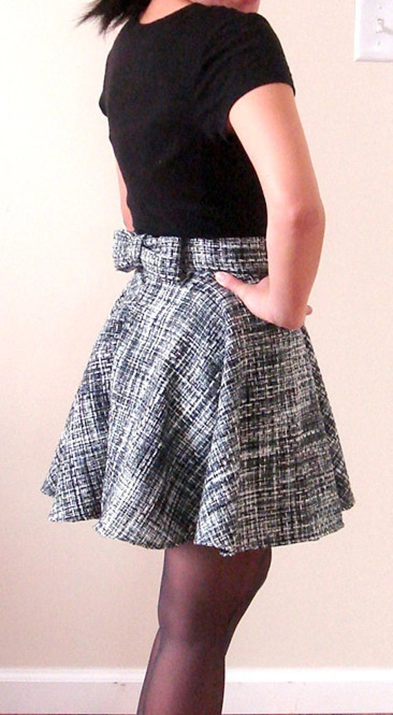 Pleated Woolen Circle Mini Skirt with Bow Size 0 READY TO SHIP