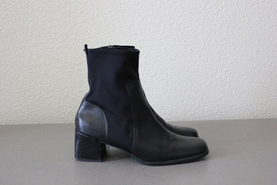90's Avant-Garde Futuristic Chelsea Ankle Boot 9 Black Leather Paneling