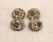 "7/8"" fabric covered buttons in tan and brown flowers-  Comes in 4"