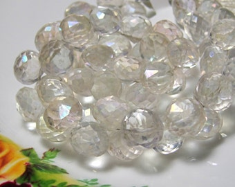 "4"" Strand - Gorgeous Antique Silver Mystic QUARTZ Faceted Onion Briolettes"