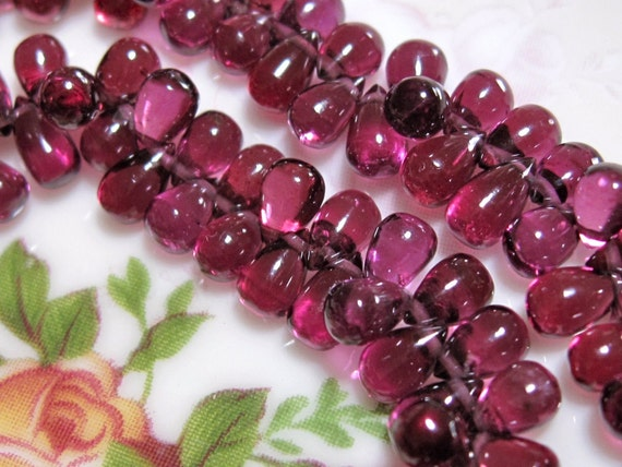 Grade AAA Finest GARNET Transparent Polished Smooth Drop Briolettes - 2 Inches Mini Strand