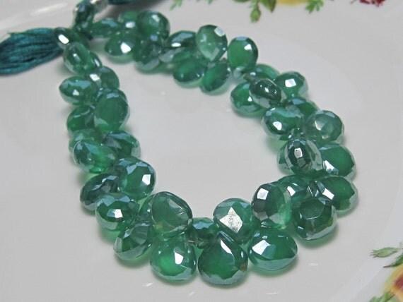 New Arrival - Green Onyx Mystic QUARTZ Faceted Heart Briolettes - 10 Beads