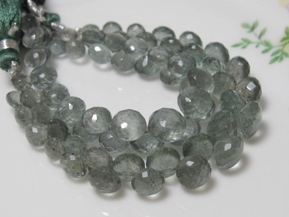 New Arrival - Full Strand - Natural MOSS AQUAMARINE Faceted Onion Briolettes