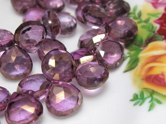 Full Strand - Beautiful Plum Purple Mystic QUARTZ Faceted Heart Briolettes