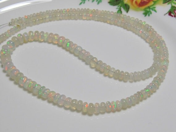 New Arrival - 8 Inch Strand - AAA Superb Quality Creamy ETHIOPIAN OPAL Smooth Rondelles