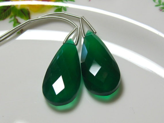 New Arrival - Matched Pair - Green ONYX Faceted Pear Briolettes