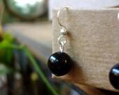 SALE 50% OFF - Black Onyx Drop Earrings in Silver