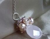 Pink Pearl and Rose Quartz Drop Necklace