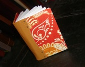 Small Orange Damask and Leather Book