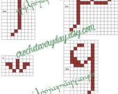 Tengwar-Gandalf  - Some Form of Elvish - lettering  graphs for cross stitch, crochet, or knit