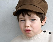 Organic Newsboy Cap for Kids in Brown, Eco friendly Fashion, Eco Child Gift under 50