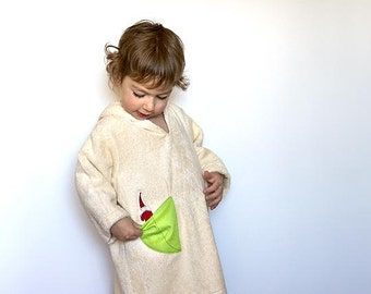 Ecofriendly Hooded Bathrobe with red garden pixie from GOTS Certified organic cotton. Waldorf inspired organic robe for boys & girls.