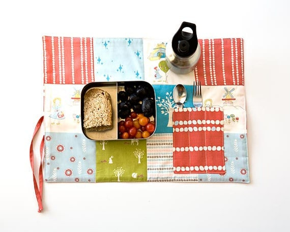 Organic Travel Placemat for Girls, Eco friendly place mat for Lunchbox, Back to school gift under 25