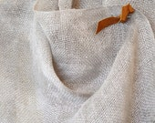 Grey and White Woven Linen Bib Scarf with Butterscotch Leather Pin