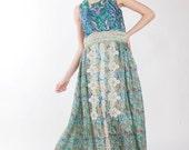 Rezerved for Bromannj-Third payment -Green silk organza maxi dress with antique lace appliques-Jade dress