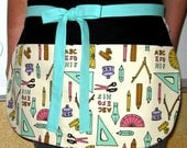 Teacher's Utility Apron with Pen, Pencils and Protractors on Black with Turquoise Ties -- Teacher Apron