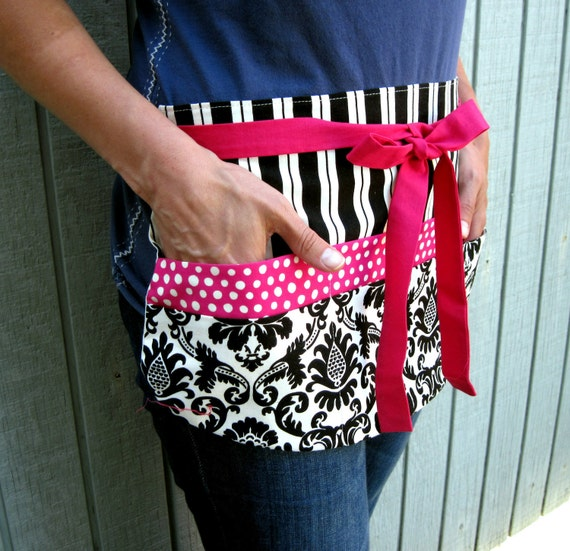 Utility Apron in Black Damask on Cream w/ Six Pockets in Hot Magenta Pink Modern Dots for Vendors, Crafting, Teachers, Teacher Gift, Wedding