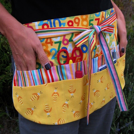 Bees and Numbers Teacher Utility Apron with Eight Pockets for Elementary, Kindergarten or PreSchool Teachers