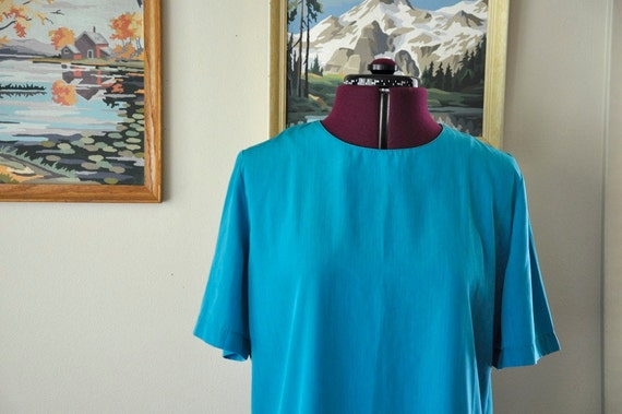 RESERVED Vintage 80s Turquoise T-Shirt Blouse M L