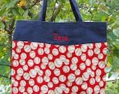 Handmade tote bag, Boy's embroidered Navy Canvas Tote Bag with Baseball Print  (large) LBTB29