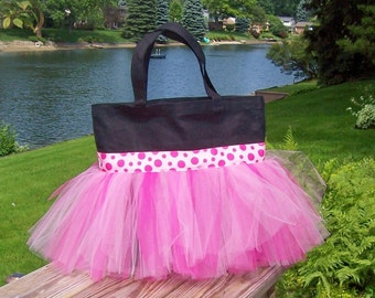 Embroidered Dance Bag - Black Tote Bag with Pink Polka Dot Ribbon and shades of Pink tulle Tutu Tote Bag - TB100