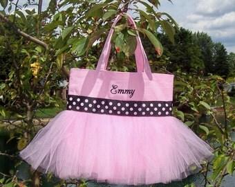 Child's Embroidered Dance Bag - Pink Tote Bag with pink and black polka dot ribbon MINI Tutu Tote Bag - MTB83 - BPT