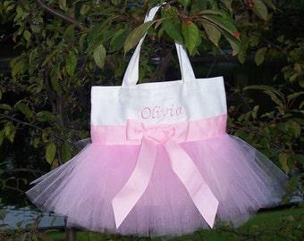 Dance bag,  Embroidered Dance Bag, Naptime 21, White Personalized Tote Bag, Princess bags, tutu ballet bag, MINI Tutu Tote Bag - MTB21 - F