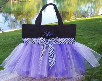 Naptime 21, dancde bag, Embroidered dance bag, Black bag with Shades of Purple tulle and Zebra Ribbon MINI Tutu Ballet Bag  -MTB88 - EST