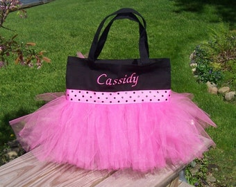 Embroidered Dance Bag - Black Tote Bag with  Pink and Black Polka Dot Ribbon Tutu Tote Bag - TB3 - F