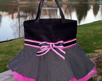 Dance bag, ballet bag, Embroidered dance bag, Black Tote Bag with black and white polka dot skirt and hot pink Tutu Tote Bag -STB39