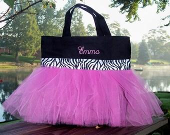 Ballet bag, tutu bag, Embroidered Dance Bag - Black Bag with Hot Pink Tulle and Black and White Zebra Ribbon Tutu Tote Bag - TB43