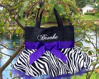 Princess tote bag, Girls Embroidered Dance Bag, Naptime 21,  Black bag with a Zebra Skirt and Purple ribbon MINI Tutu Tote Bag - MSTB60 EST