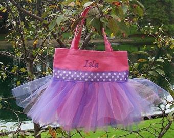 Embroidered Dance Bag, tutu dance bag,Pink Bag with Pink and Purple tulle and Purple Polka Dot Ribbon MINI Tutu Tote Bag - MTB50 - F