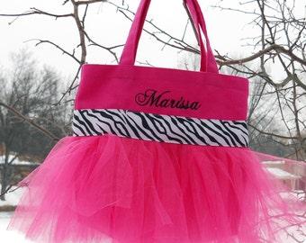 tutu dance bag, Embroidered Dance Bag - Hot Pink  Bag with Black and White  Zebra Ribbon Personalized MINI Tutu Ballet Bag -MTB879 - EST