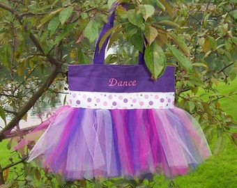 Embroidered Dance Bag - Purple with purple and pink polka dot ribbon Tutu Tote Bag - TB179 - F