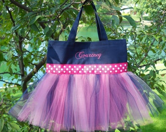 Tutu dance bag, tutu ballet bag, Embroidered Dance Bag, Personalized tote bag, tutu bag, dance bag, Tutu Tote Bag, Naptime 21, TB436 E