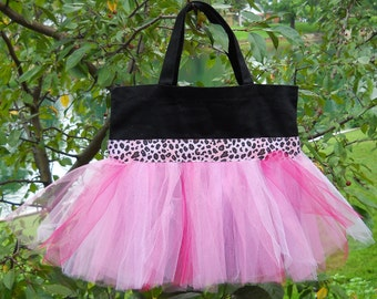 Embroidered Dance Bag - Black bag with Pink Leopard Ribbon and Pink Tulle Tutu Tote Bag - TB191