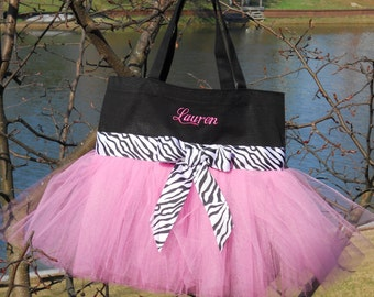 Dance bag, ballet bag, Childs Embroidered Dance Bag - Black Bag with Pink Tulle and Black and White Zebra Ribbon Tutu Tote Bag - TB178 - BP
