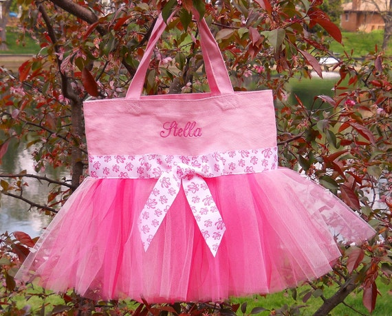 Embroidered Dance Bag  -  Pink Tote Bag with Shades of Pink tulle and Ballet Slipper  Ribbon Tutu Tote Bag - TB112 - BP