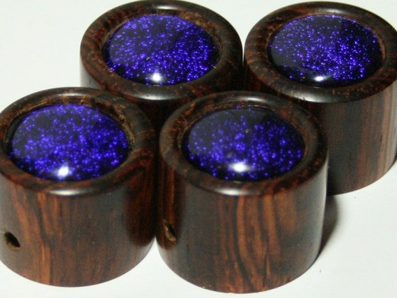 Set of 4 Dichroic Glass on Cocobolo Guitar Knobs (15/16 inch diameter)