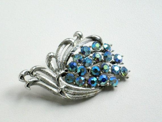 Vintage Brooch Rhinestones Blue Aurora Borealis Floral Jewelry