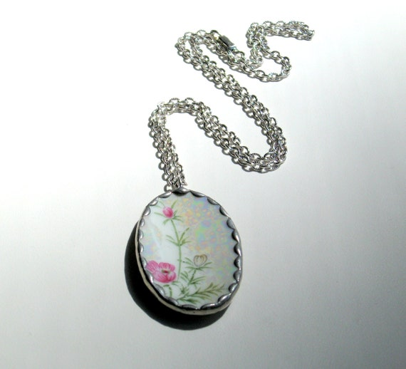 RESERVED FOR MARGARET Vintage Necklace Chain and Pendant Hand Painted Porcelain Shard Jewelry