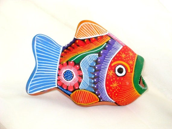 Pottery Handmade Figure Vintage Painted Green Orange Blue Pink Vintage Clay Fish