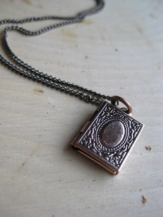 Antique Copper Book Locket Necklace