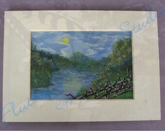 River Overlook-original acrylic painting matted 5x7--Free Shipping USA